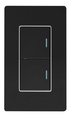Imagen 1 de 4 de Interruptor Doble Lujo Negro Espejo Black Mirror