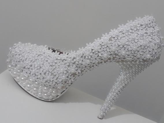 Sapato Noiva Bordado Pérolas Renda