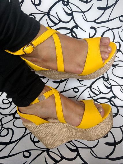 Zapato Alto Amarilla Plataforma En Yute De Moda Envío Gratis