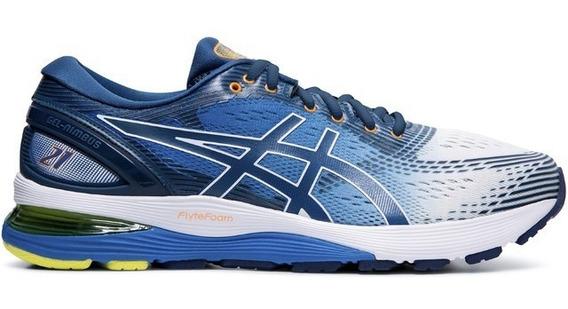 Zapatillas Asics Gel Nimbus 21 Running Hombre Azul-blanco