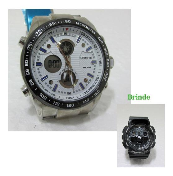 Relógiosdigital Unissex Aço Ponteiro + Brinde Rel Esportivo