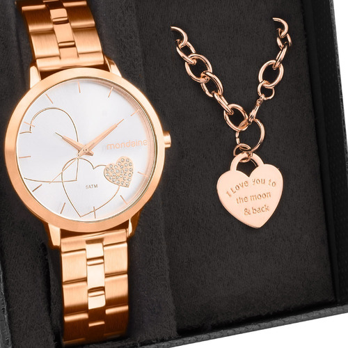 Kit Relógio Mondaine Feminino Com Pulseira 32102lpmkre2k1