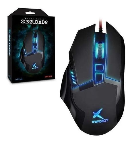Mouse para jogo Infokit GM-601 X-Soldado preto