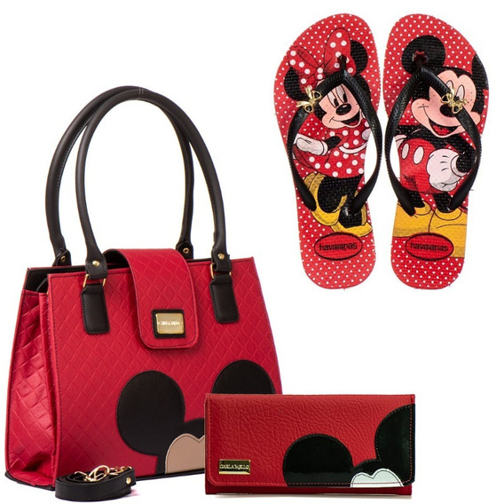 Kit Bolsa Femininas Mickey Minnie Mouse Chinelo Com Carteira
