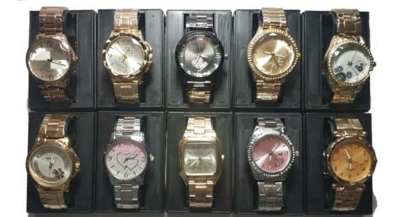 Lote C/10 Relógios Feminino Dourado+caixas Atacado/revenda