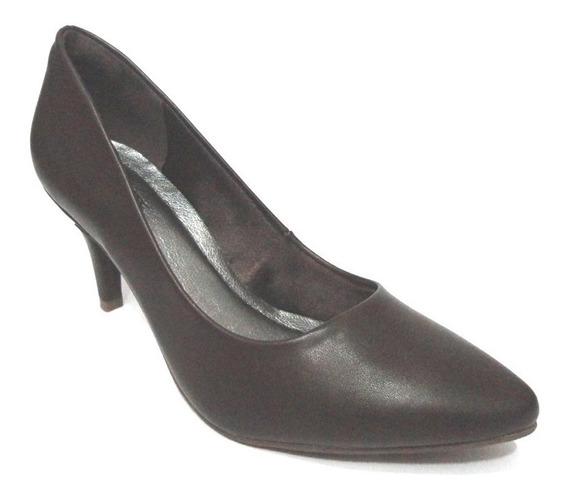 Sapato Scarpin Bico Fino Via Marte Café/ Moccacino