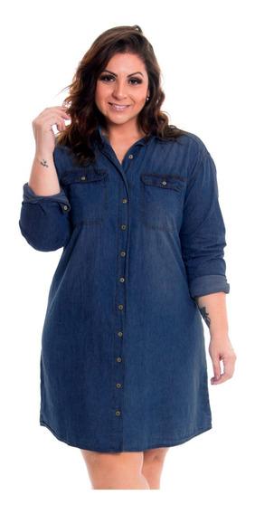 Vestido Feminino Jeans Chemise Plus Size Tamanhos Grandes