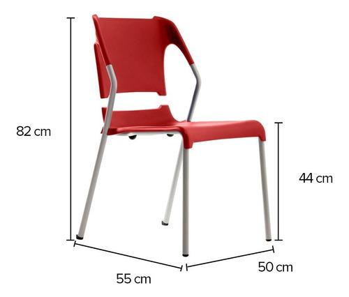 Silla Chill Polipropileno Rojo Estructura Plata Marca Durex