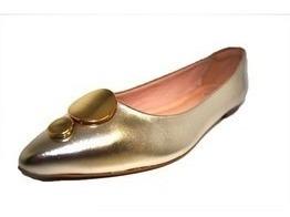 Sapatos Femininos Sapatilha Bico Fino Metalizado Ouro Dani K