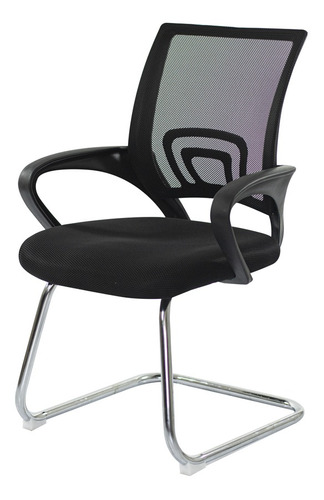 Imagem 1 de 5 de Cadeira Escritório Basic Diretor Fixa Preta Base Cromada