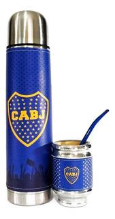 Termo Acero Inoxidable Y Mate Aluminio Madera Boca Juniors