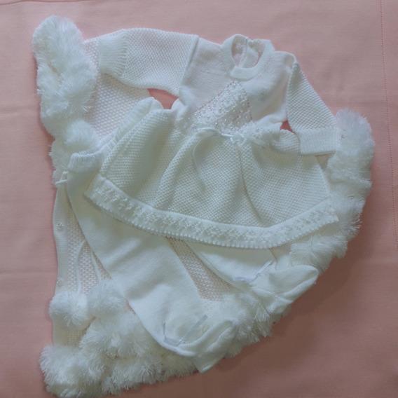 Roupa Batizado Bebê Menina Vestido Calça + Capinha Ref. 146