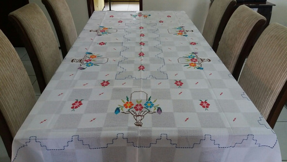 Toalha De Mesa De 6 Cadeiras Ponto Cruz Bordados Do Ceará