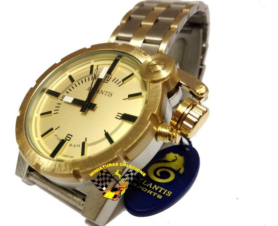 Relógio Masculino Dourado E Prata Pulseira Aço Luxo Grande Atlantis A3283 Estilo Diesel