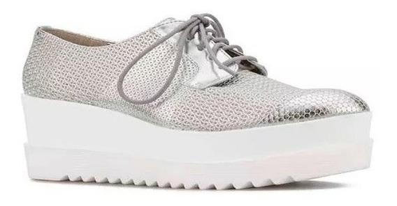 Zapatos Tenis Con Plataforma, Plateados Grabados Envío Grati