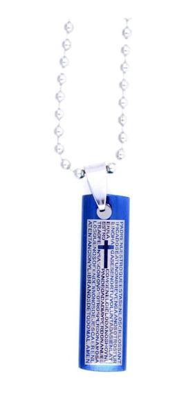 Colar Unissex Inox Aço Bíblia Cruz Pai Nosso Em Espanhol
