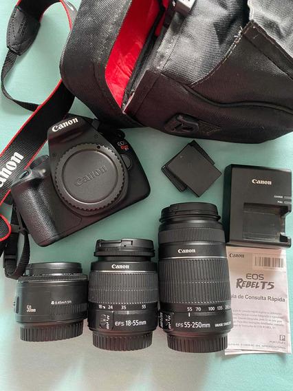 Canon T5 + 3 Lentes + Bateria Reserva + Sd