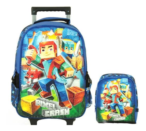 Kit Escolar Infantil Pixel Crash Mochila Rodinhas Lancheira
