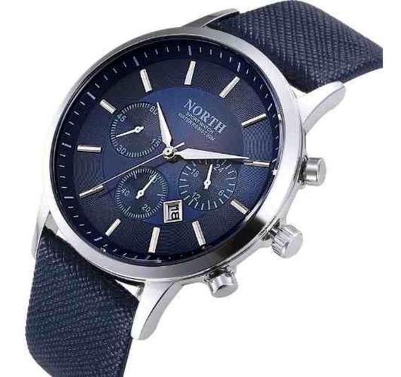 Relógio North De Luxo Original Pulseira Couro Modelo 6009