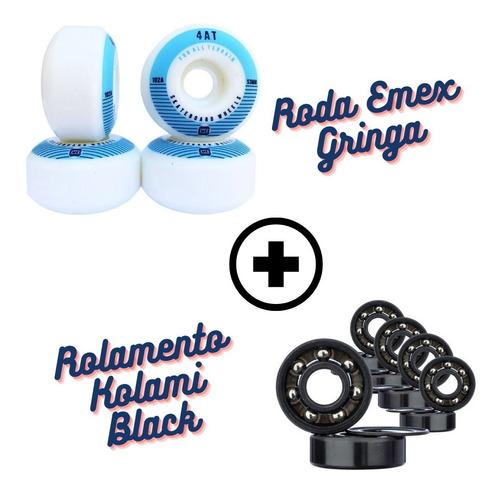 Imagem 1 de 3 de Rodas Skate Emex 53mm Importada + Rolamento Kolami Black