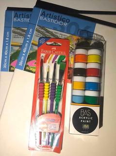Set Para Pintar 12 Pinturas Acrílicas, Pinceles Y Bastidores