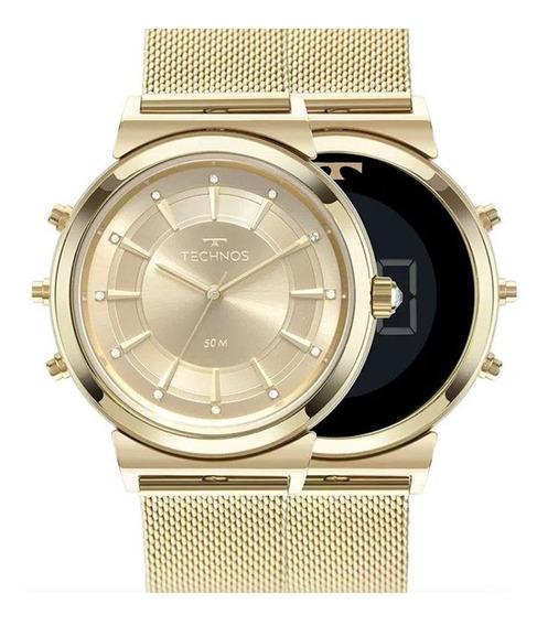 Relógio Technos Curvas Digital Analógico Dourado 9t33aa/4x