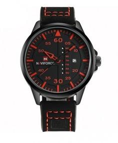 Relógio De Pulso Masculino Naviforce Quartzo Couro 9074
