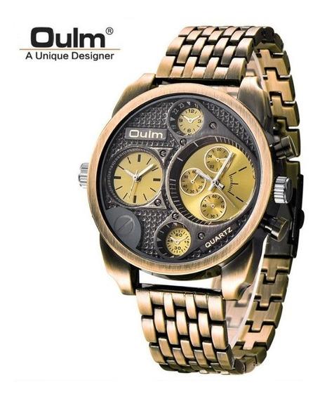 Relógio Oulm 9316 Dourado Antigo Militar Original Dual Time