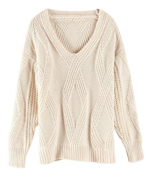 Suéter De Punto De Textura Geométrica