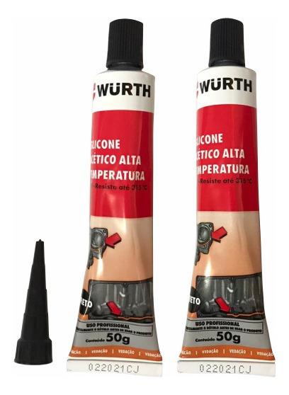 2 Silicone Wurth Neutro Alta Temperatura W-max Preto 60g