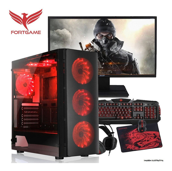 Pc Gamer Completo 19,5¨ Core I3-9100f 8gb 1tb Radeon Rx 550