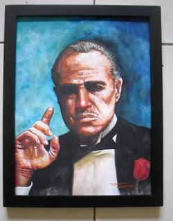 Pintura En Acuarela Vito Corleone 25x35cm + Envio Gratis