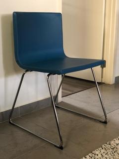Silla Azul Ikea Con Patas Metalicas