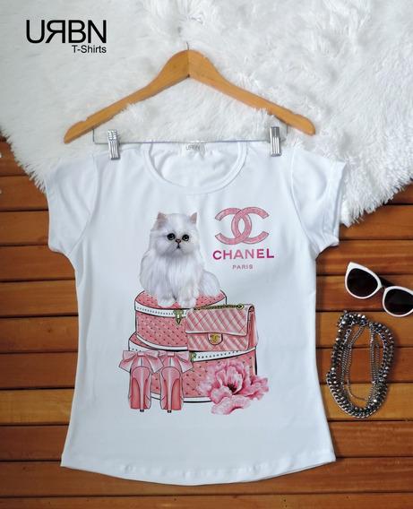 Camiseta Feminina Blusa T-shirt Fashion Gato Sem Pedras