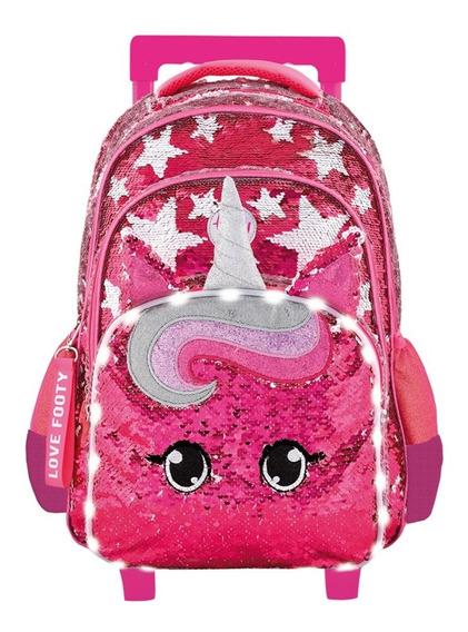 Mochila Carro Footy Unicornio Lentejuela Luz 18 Maple Cuotas