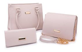 Bolsa Feminina Kit Com 3 Bolsas Grande Pequena Bau Carteira.