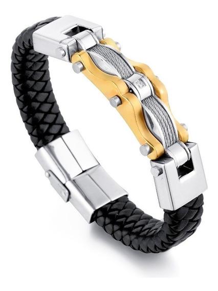 Pulseira Bracelete Masculina Couro + Aço Banhado Ouro 18k