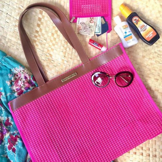 Bolsa De Praia Em Tela Pink Horizontal Patrícia Henriques