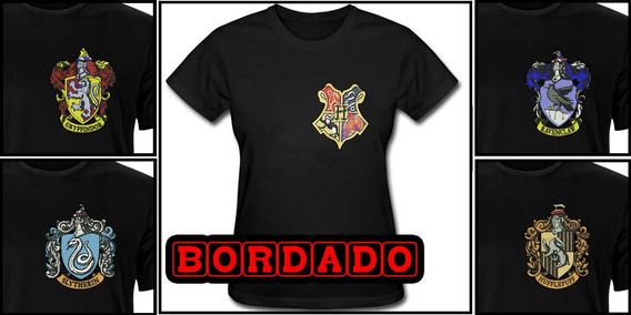 Camiseta Casas Harry Potter Bordado