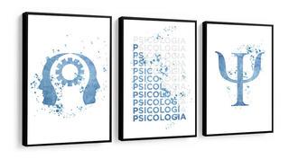 Quadro Decorativo Psicologia Frase Figura Tons Azul Clínica