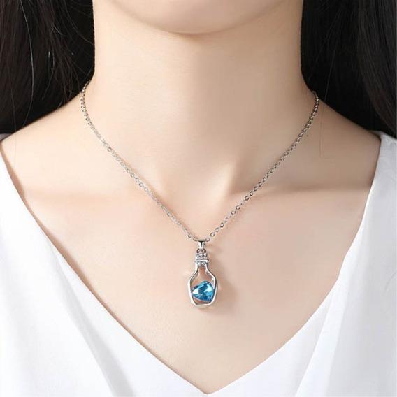 Hermoso Collar Con Dije De Botella Corazón, Azul, P. Regalo