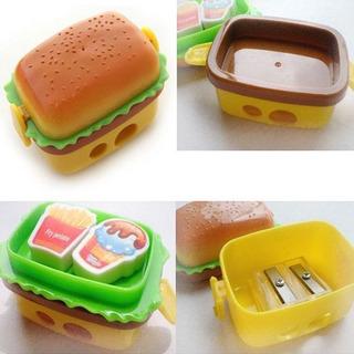 Papelería Hamburger Estimulación Lápiz Sacapuntas Con Dos Go