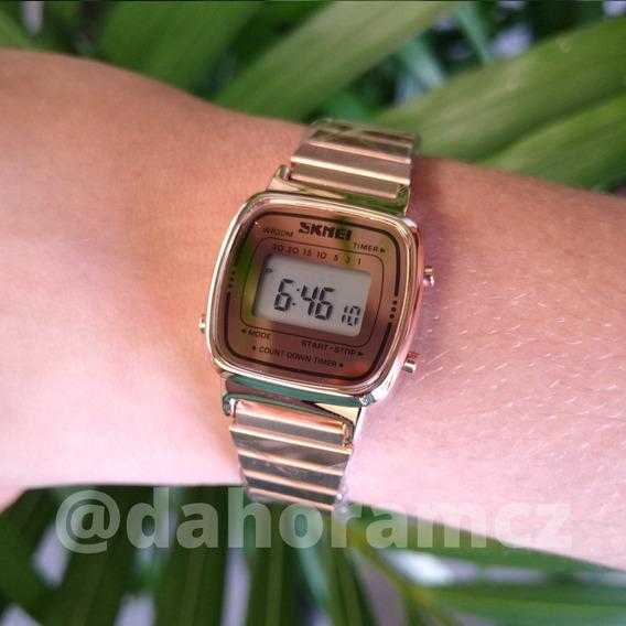 Relógio Dourado Em Aço Caixa Pequena - Skmei 1252 - Rosê