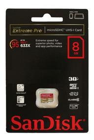 Cartão De Memória Sandisk 8gb Extreme Pro Microsdhc Uhs-i