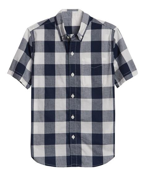Camisa Niño Casual Manga Corta Estampado Cuadros 441251 Gap