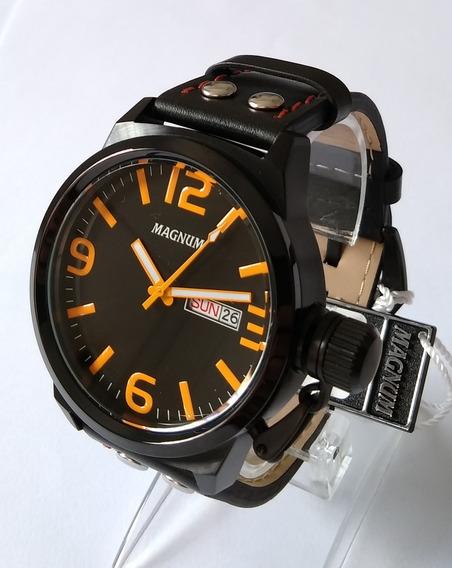 Relógio Masculino Magnum Preto Pulseira Couro Ma31524l.