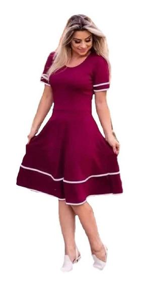 Vestido Evangélico Midi Godê Rodado Lançamento Moda Feminina