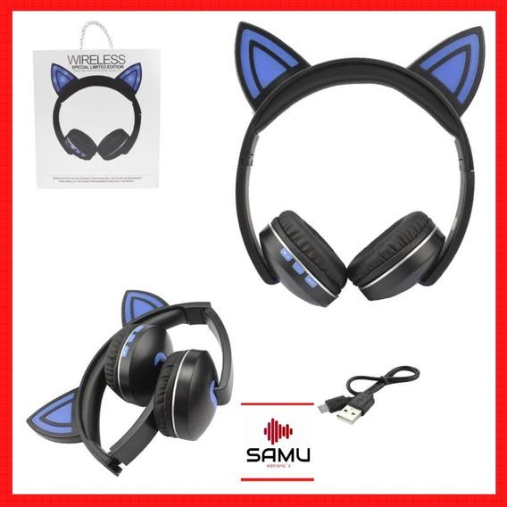 Headphone Orelhas De Gato Led Com Bateria Extra Lc-222