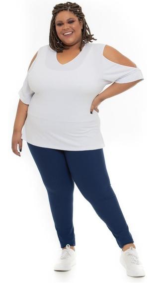 Legging Plus Size Joana Dark Casual Poliamida Azul Marinho