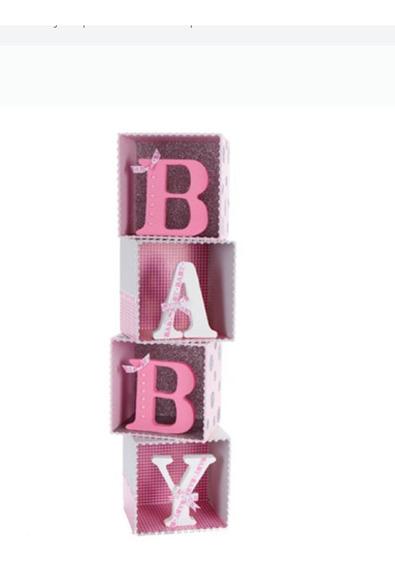 Letrero Baby En Caja De Madera Tipo Cubo, Letras De Unicel